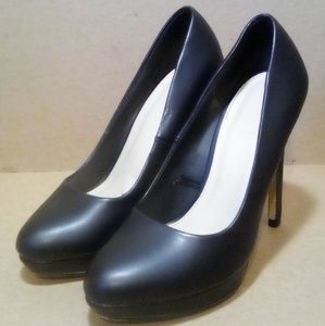 Black Leather Forever 21 Stilettos
